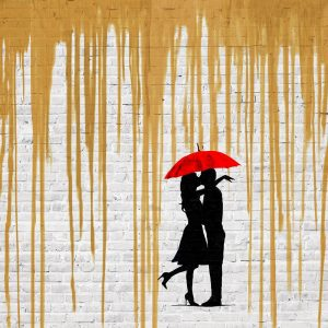 Romance in the Rain (Gold, detail)