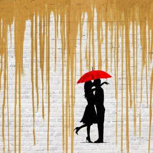 Romance in the Rain (Gold, detail)