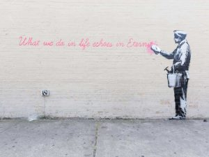 68th Str-38th Avenue Queens NYC-graffiti attributed to Banksy