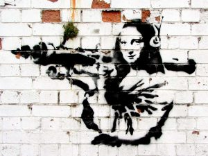Noel Street, Soho, London (graffiti attributed to Banksy)