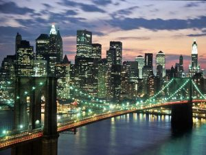 Brookyn bridge and Downtown skyline, NYC