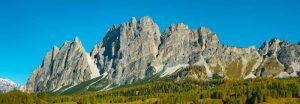 Pomagagnon and larches in autumn, Cortina dAmpezzo, Dolomites, Italy