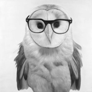 Realistic Barn Owl with Glasses