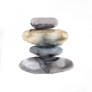 Watercolor Pile of Rocks