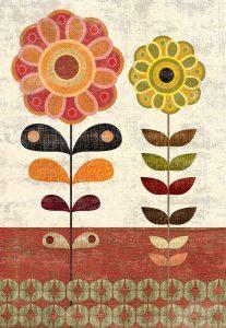 Sage and Orange Floral I