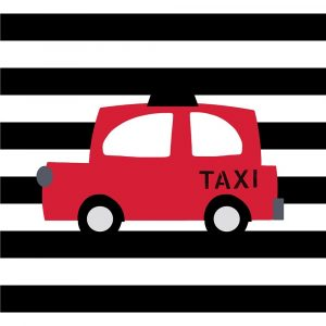 Bright Red Taxi