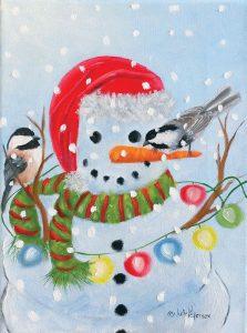 Stringing Lights Snowman