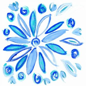 Blue Aqua Painterly Floral II