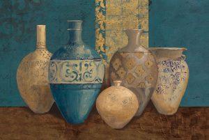 Aegean Vessels on Turquoise