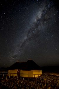 Namibia, Namib-Naukluft Park Hut and Milky Way