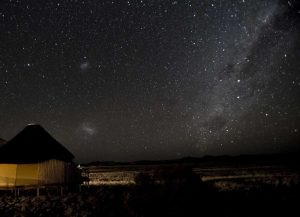 Namibia, Namib-Naukluft Park, Milky Way over Hut